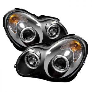 2001-2005 Mercedes Benz W203 C-Class Halo Projector Headlights (4 Door Only) - Black