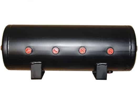 "5 Gallon, 8 Port Steel Black Air Tank (29"" X 8.4"")"