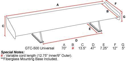 GTC-500 Adjustable Wing - Carbon Fiber