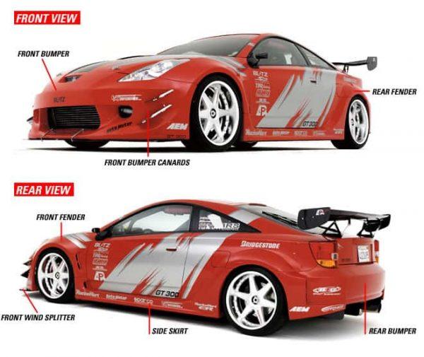 2000-Up Honda S2000 Widebody Aerodynamic Body Kit