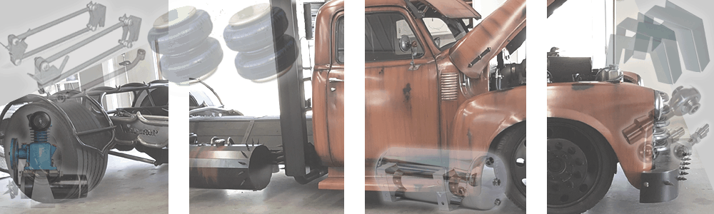 Custom Universal Rat Rod, Hot Rod, Classic Car and Truck Complete Air Suspension Kits, FBSS Air Bag Kits, Coil Spring Air Kits, Leaf Spring Air Kits