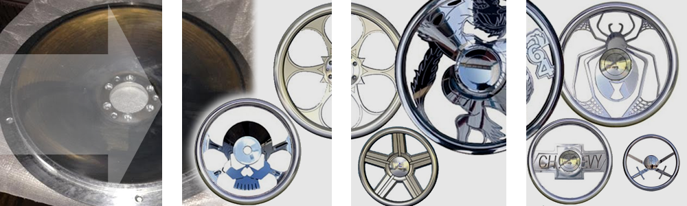 Custom built billet aluminum steering wheels, for late model and classic cars and trucks
