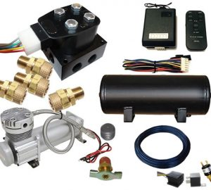 Mini Wireless Air Management System (4 Valve Air Manifold Kit w/Compressor, Tank, Switches and Gauges) – 2 Corners