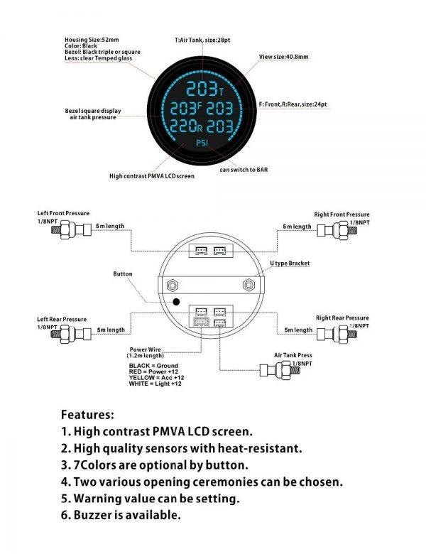 Air Suspension Digital Pressure Gauge Display & Sending Units – 200psi – 5 Zone