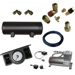 Manual Pneumatic Air Management System (2 Toggle 4 Valve Kit w/Compressor, Tank & Gauges) 2 Corner