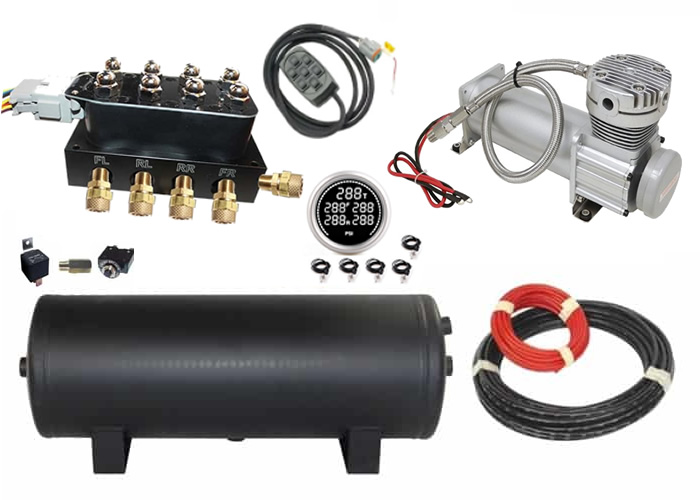 Air Management System (VU4 Manifold Kit w/Compressor, Tank, 7 Rocker Switch Controller and Gauge) - 4 Corners