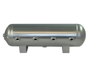 9 Gallon, 8 Port Polished Stainless Steel Air Tank (29″ X 8.4″)