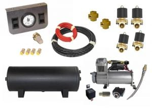 Mini Air Management System (4 Independent Valve Kit w/Compressor, Tank, Switches and Gauge) – 2 Corners